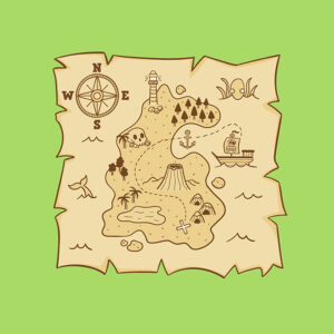Treasure map green background illustraion