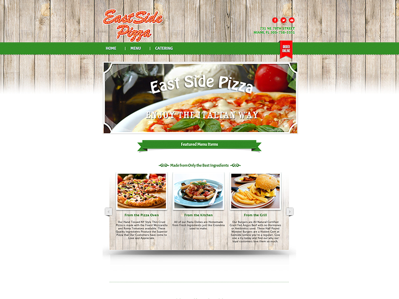 Restaurant Web Design Palm Beach – East Side Pizza