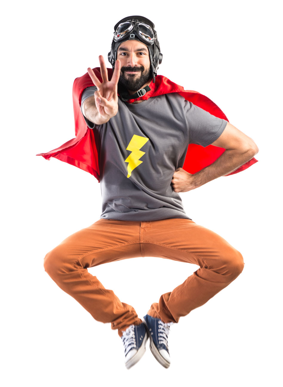 Man in Super Hero Type Outfit Holding Up 3 Fingers