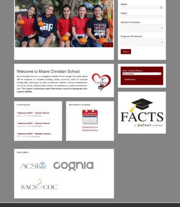 Miami Christian School Website Developement Portfolio by Katapult Marketing